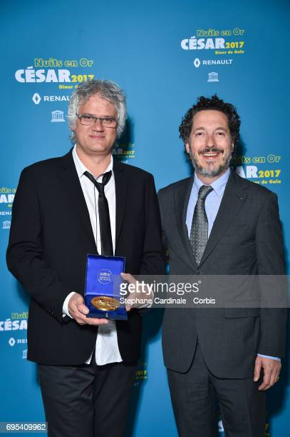 Fabrice LuangVija and Guillaume Gallienne attend 'Les Nuits en Or 2017' Dinner Gala at Unesco on June 12 2017 in Paris France