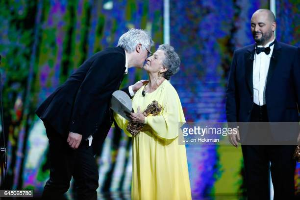 Fabrice LuangVija receives the Cesar of Best Animated Short Film for 'Celui qui a deux ames' given by Marthe Villalonga during the Cesar Film Awards...