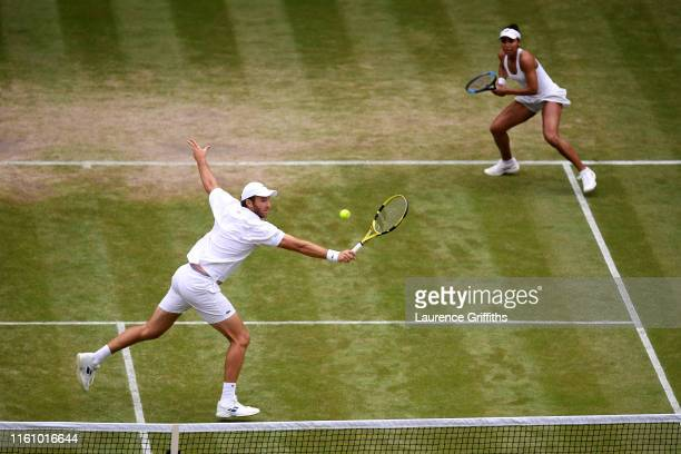 Fabrice Martin of France and Raquel Atawo of the United States in action in their Mixed Doubles second round match against Serena Williams of the...