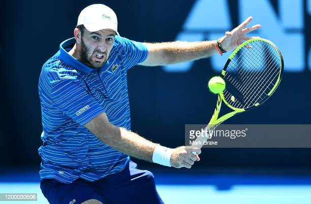 Fabrice Martin of France in action in his double match with partner Maximo Gonzalez of Argentina against Rajeev Ram of the USAand Joe Salisbury of...