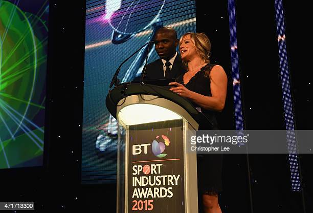 Fabrice Muamba and Jenny Jones present Best Sponsorship of Team or Individual Award sponsored by Kantar Media at the BT Sport Industry Awards 2015 at...