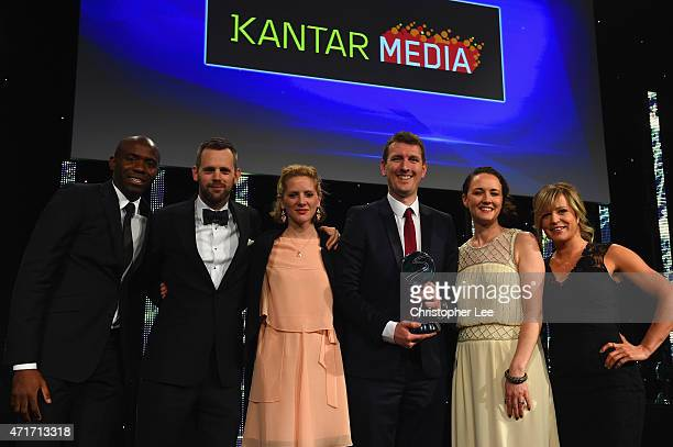 Fabrice Muamba L0 and Jenny Jones present Best Sponsorship of Team or Individual Award sponsored by Kantar Media to O2 England Rugby at the BT Sport...