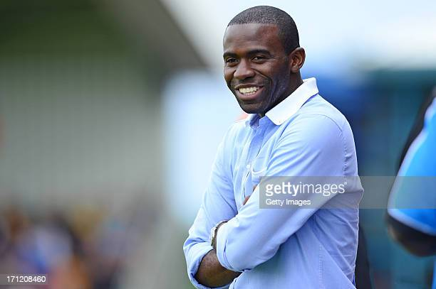Fabrice Muamba manager of World Refugee Internally Displaced Persons XI looks on during the charity football match between Arsenal Legends XI and...