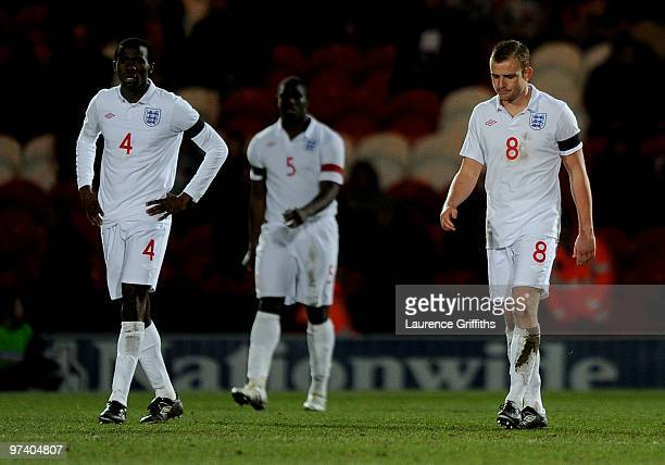 Fabrice Muamba Micah Richards and Lee Cattermole of England show their dissapointment after coceding the second goal during the UEFA Under 21...