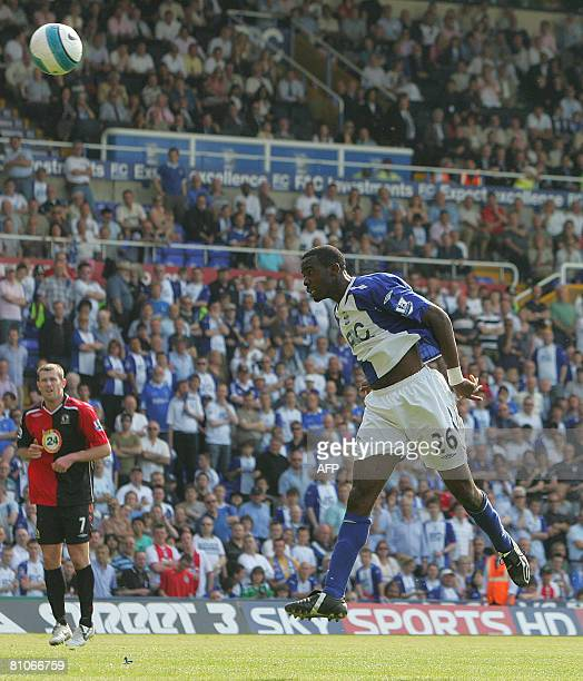Fabrice Muamba of Birmingham scores their fourth goal of the game during today`s English Premiership soccer match played between Birmingham City FC...