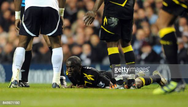 Fabrice Muamba of Bolton lying on the ground awaiting medical treatment after suffering a heart attack during the FA Cup 6th round match between...