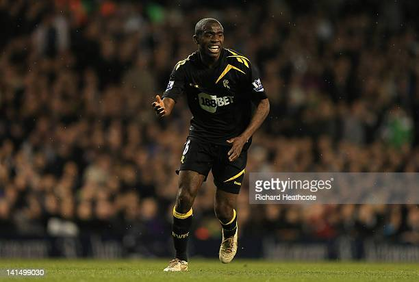 Fabrice Muamba of Bolton Wanderers in action during the FA Cup Sixth Round match between Tottenham Hotspur and Bolton Wanderers at White Hart Lane on...