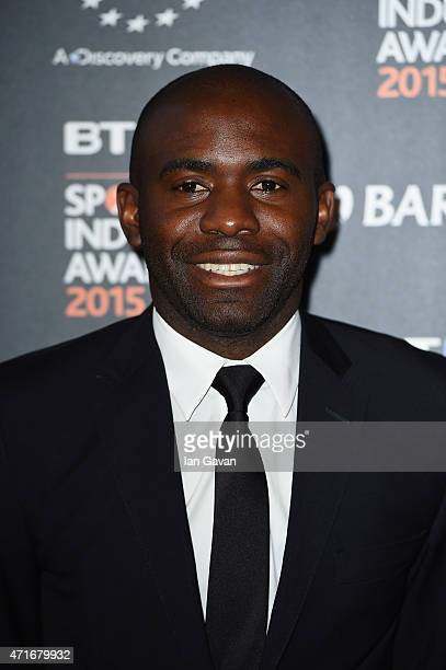 Fabrice Muamba poses on the red carpet at the BT Sport Industry Awards 2015 at Battersea Evolution on April 30 2015 in London England The BT Sport...