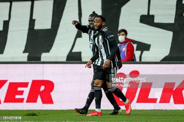 Fabrice Nsakala of Besiktas and Georges Kevin Nkoudou of Besiktas celebrates the score during the Super Lig match between Besiktas and Kayserispor at...