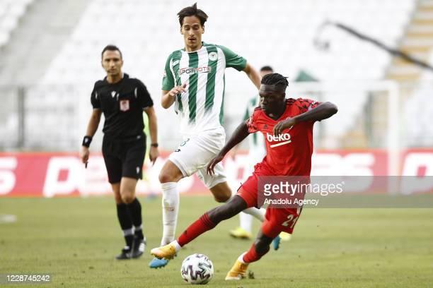 Fabrice Nsakala of Besiktas in action during the Turkish Super Lig week 3 football match between Ittifak Holding Konyaspor and Besiktas at Konya...