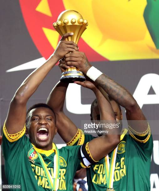 Fabrice Ondoa of Cameroon celebrates during the awards ceremony after winning the final match against Egypt of 2017 Africa Cup of Nations at the...