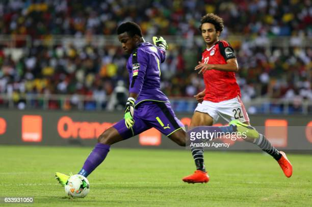 Fabrice Ondoa of Cameroon in action during the 2017 Africa Cup of Nations final football match between Egypt and Cameroon at the d'Angondje Stadium...