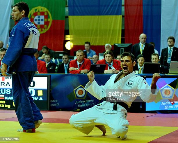 Fabrice Picco of France reacts after defeating Aleksandr Karakhanov of Russia for the M3 u73kgs gold medal during day two at the 2013 European...