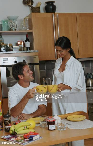 Fabrice Santoro and Chrislaure in their kitchen