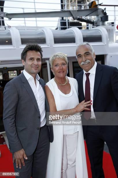 "Fabrice Santoro, Frederique Bahrami and Mansour Bahrami attend ""Trophee des Legendes"" Dinner at Le Paquebot on June 7, 2017 in Paris, France."