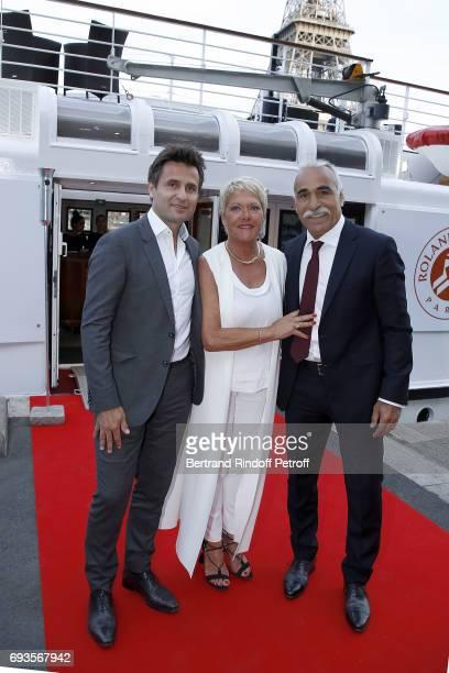 Fabrice Santoro Frederique Bahrami and Mansour Bahrami attend Trophee des Legendes Dinner at Le Paquebot on June 7 2017 in Paris France