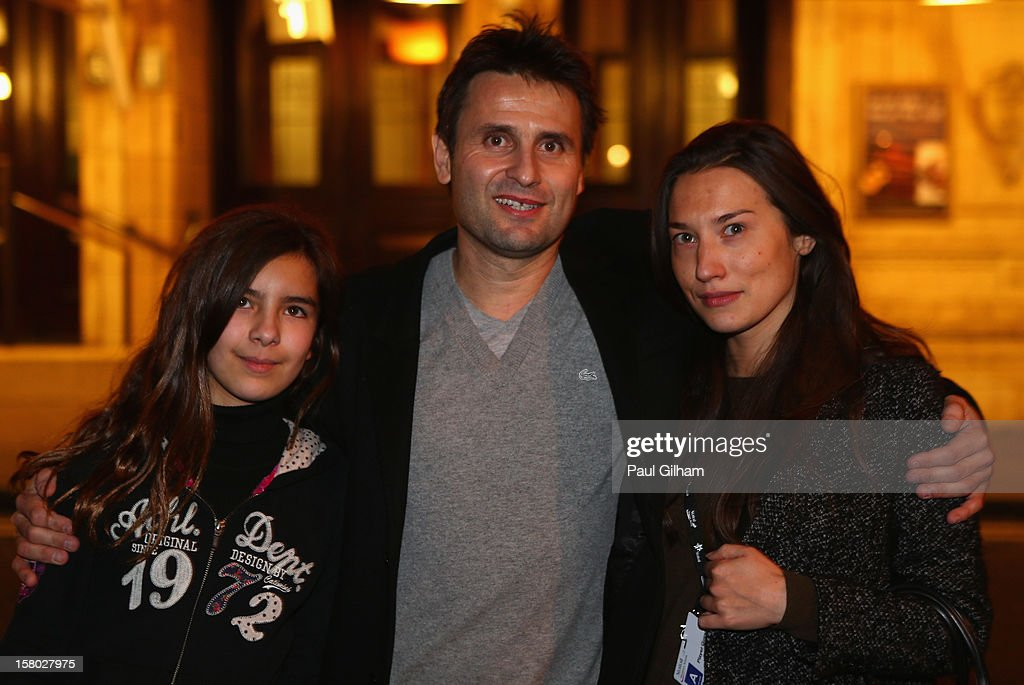 Fabrice Santoro of France poses with his girlfriend Elsa (R)and daughter Djenae (L) after winning the ATP Champions Tour Final between Tim Henman of Great Britain and Fabrice Santoro of France during the Statoil Masters Tennis at Royal Albert Hall on December 9, 2012 in London, England.