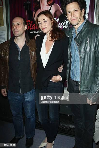 Fabrice Sebille Delphine Rollin and Fabrice Abraham attend the Blanche Nuit Ni L'Inverse Ni Le Contraire Premiere at cinema Bastille on April 8 2013...