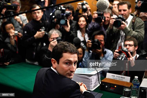 Fabrice Tourre executive director of the structured products group trading for The Goldman Sachs Group prepares to testify before the Senate Homeland...