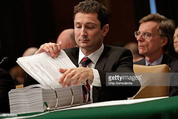 Fabrice Tourre executive director of the structured products group trading for The Goldman Sachs Group testifies before the Senate Homeland Security...