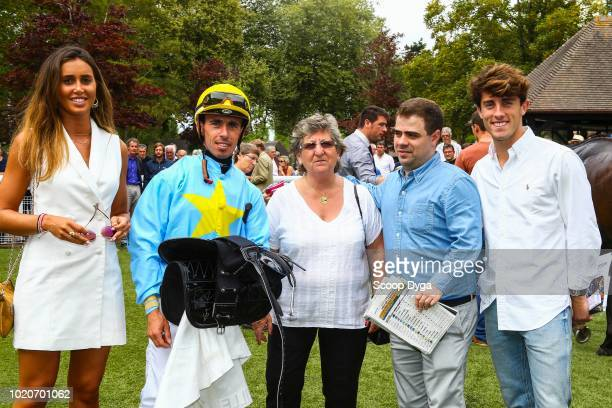 Fabrice Veron and Alvaro Odriozola new Real Madrid's player during the meeting of Deauville Barriere at Hippodrome De Deauville on August 21 2018 in...