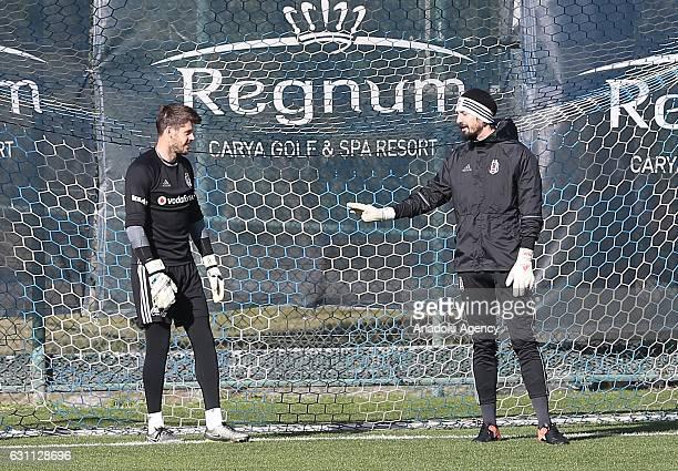 Fabricio Agosto of Besiktas and Tolga Zengin of Besiktas attend a training session within his team's midseason training camp in Antalya Turkey on...
