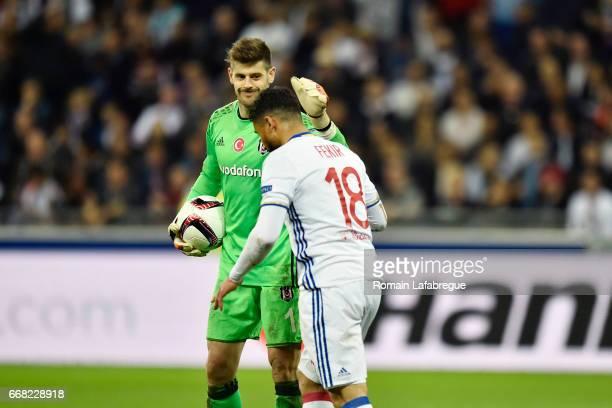 Fabricio Agosto Ramirez of Besiktas Nabil Fekir of Lyon during the Uefa Europa League quarter final first leg match between Olympique Lyonnais Lyon...