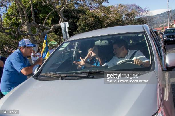 Fabricio Alvarado of Partido Restauración Nacional greets a follower during the Second Round of the 2018 Presidential Elections in Costa Rica on...
