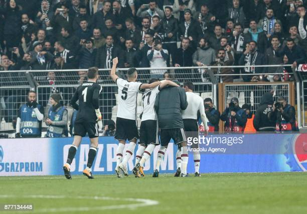 Fabricio and Pepe of Besiktas celebrate after the UEFA Champions League Group G soccer match between Besiktas and Porto at the Vodafone Park in...