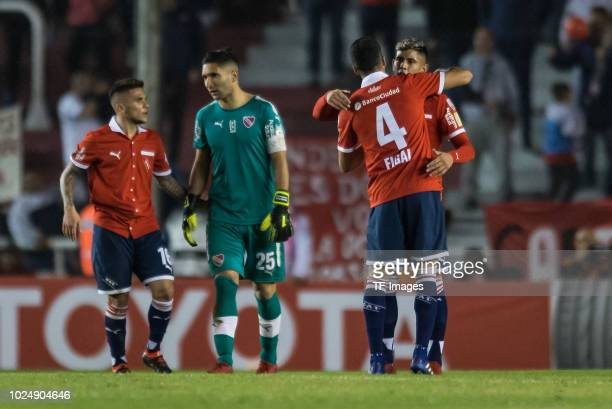 Fabricio Bustos Martin Campana Nicolas Figal and Alan Franco of Independiente celebrates their team`s second goal during a match between...