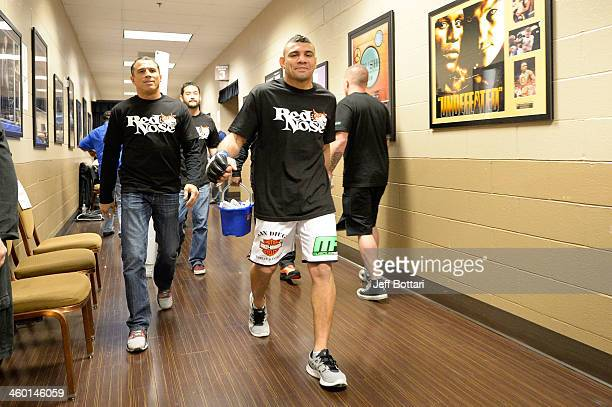 Fabricio Camoes walks out of the locker room before facing Jim Miller in their lightweight bout during the UFC 168 event at the MGM Grand Garden...