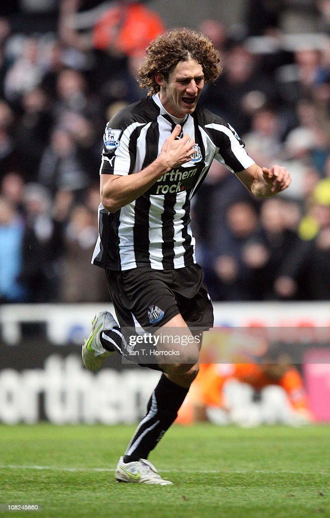 Fabricio Coloccini celebrates scoring the opening goal during the Barclays Premier league match between Newcastle United and Tottenham Hotspur at St James' Park on January 22, 2011 in Newcastle upon Tyne, United Kingdom.