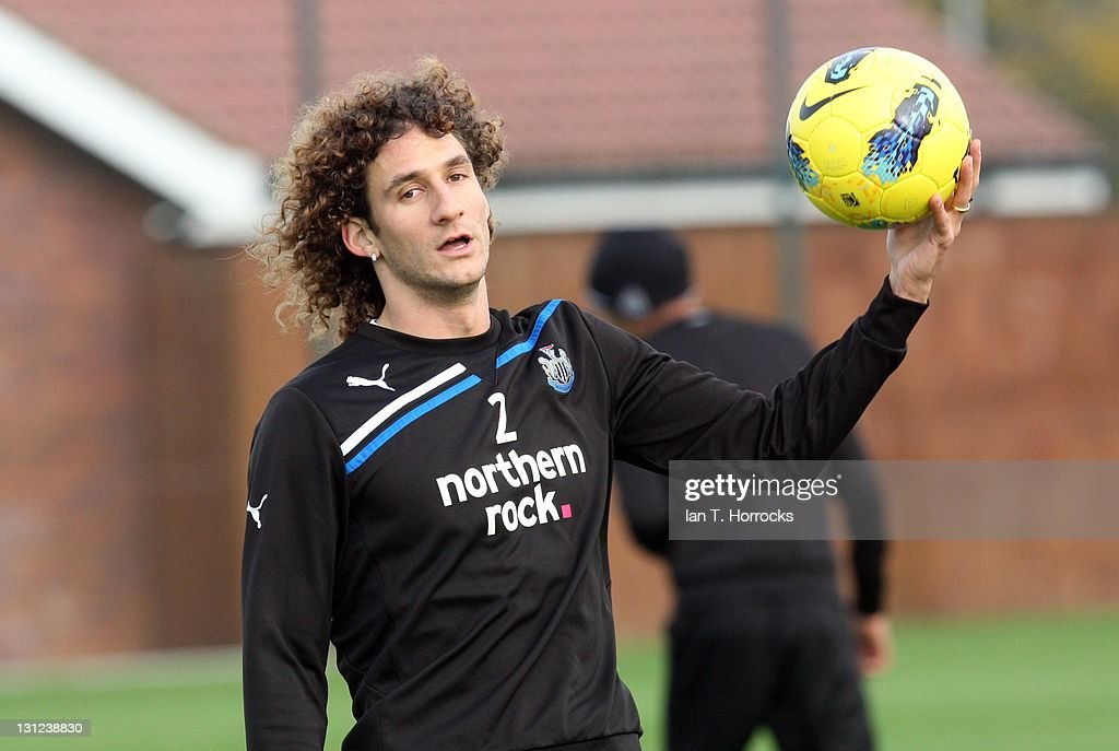 Fabricio Coloccini in action during a Newcastle United Training session at The Little Benton Training Ground on November 03, 2011 in Newcastle, United Kingdom.