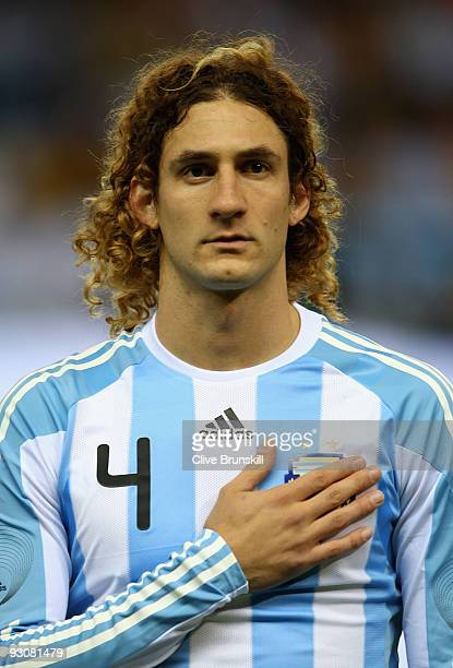 Fabricio Coloccini of Argentina during the friendly International football match Spain against Argentina at the Vicente Calderon stadium in Madrid on...