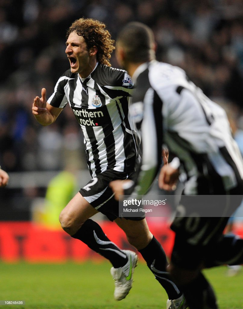Fabricio Coloccini of Newcastle celebrates scoring to make it 1-0 during the Barclays Premier League match between Newcastle United and Tottenham Hotspur at St James' Park on January 22, 2011 in Newcastle upon Tyne, England.