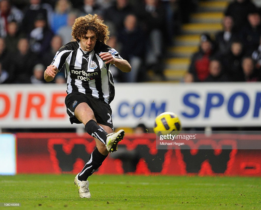 Fabricio Coloccini of Newcastle scores to make it 1-0 during the Barclays Premier League match between Newcastle United and Tottenham Hotspur at St James' Park on January 22, 2011 in Newcastle upon Tyne, England.