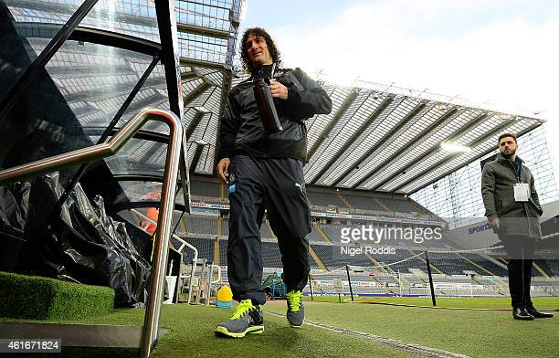 Fabricio Coloccini of Newcastle United arrives for the Barclays Premier League match between Newcastle United and Southampton at St James' Park on...