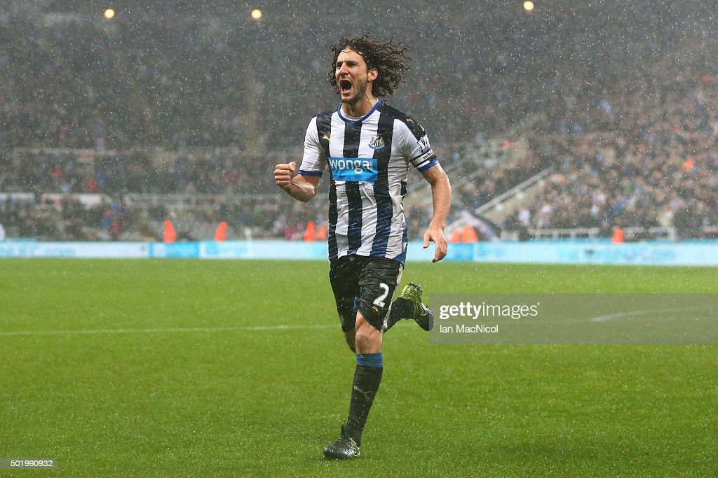 Fabricio Coloccini of Newcastle United celebrates scoring his team's first goal during the Barclays Premier League match between Newcastle United and Aston Villa at St James' Park on December 19, 2015 in Newcastle upon Tyne, England.