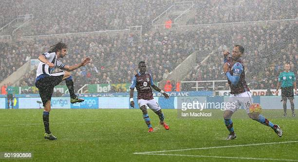 Fabricio Coloccini of Newcastle United scores his team's first goal during the Barclays Premier League match between Newcastle United and Aston Villa...