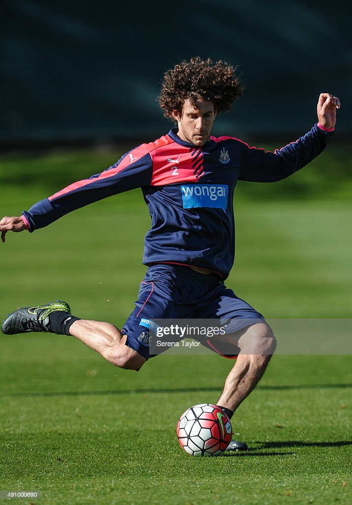 Fabricio Coloccini passes the ball during the Newcastle United Training session at The Newcastle United Training Centre on October 2, 2015, in Newcastle upon Tyne, England.