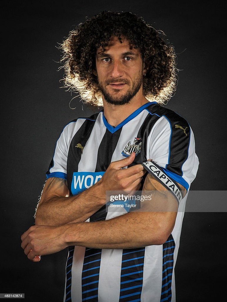 Fabricio Coloccini poses for photos wearing the captain's arm band for the 2015/16 season during a Newcastle United Training session at The Newcastle United Training Centre on August 6, 2015, in Newcastle upon Tyne, England.