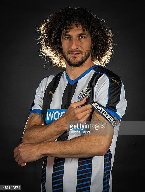 Fabricio Coloccini poses for photos wearing the captain's arm band for the 2015/16 season during a Newcastle United Training session at The Newcastle...