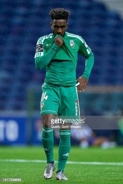 Fabricio Isidoro of SC Farense reacts during the Liga NOS match between FC Porto and SC Farense at Estadio do Dragao on May 10, 2021 in Porto,...