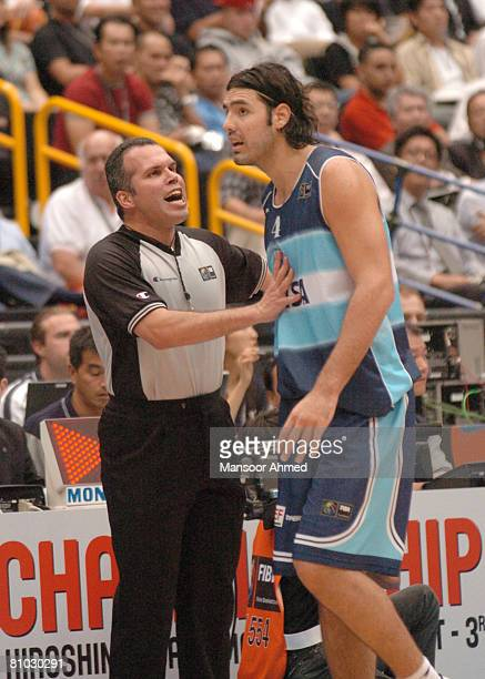 Fabricio Oberto gets a telling off from the official during the FIBA World Championship 2006 Semi Final at the Saitama Super Arena Tokyo Japan Friday...