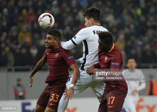 Fabricio of Astra Giurgiu vies for the ball with Emerson Palmieri and Moustapha Seck of AS Roma during the UEFA Europa League Group E football match...