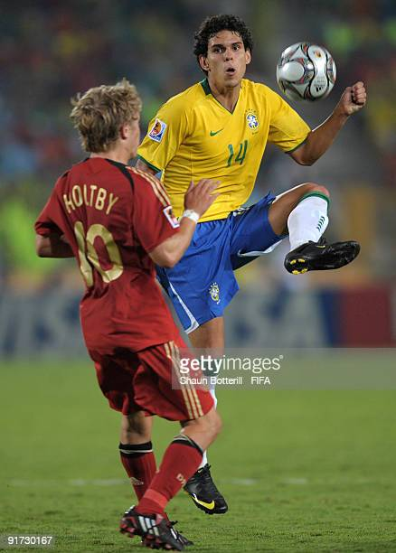 Fabricio of Brazil is challenged by Lewis Holtby of Germany challenge for the ball during the FIFA U20 World Cup Quarter Final match between Brazil...
