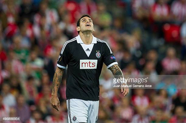 Fabricio of FK Partizan reacts during the UEFA Europa League match between Athletic Club and FK Partizan at San Mames Stadium on November 5 2015 in...