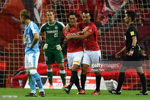 Fabricio of Urawa Red Diamonds celebrates scoring his side's second goal during the JLeague J1 match between Urawa Red Diamonds and Jubilo Iwata at...