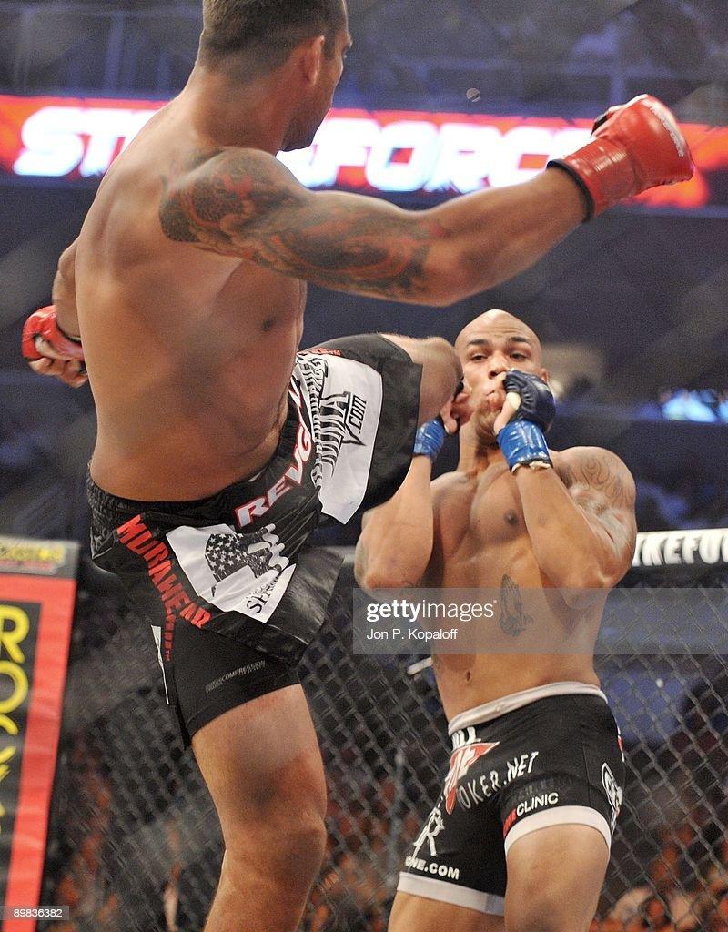 Fabricio Werdum (L) battles Mike Kyle during their Interim Heavyweight Championship fight at Strikeforce: Carano vs. Cyborg on August 15, 2009 in San Jose, California.