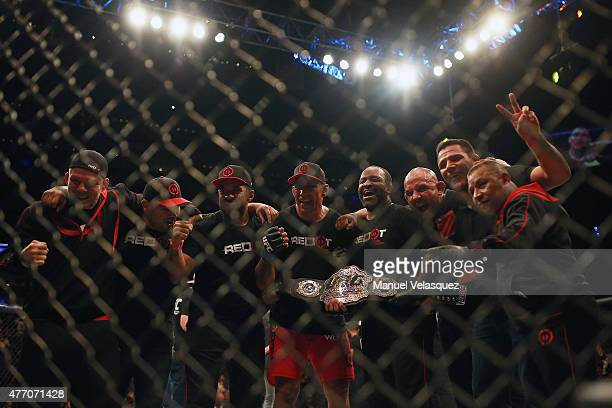 Fabricio Werdum celebrates with his teammates after defeating Cain Veasquez in a UFC Heavyweight Championship Fight between Cain Velasquez and...